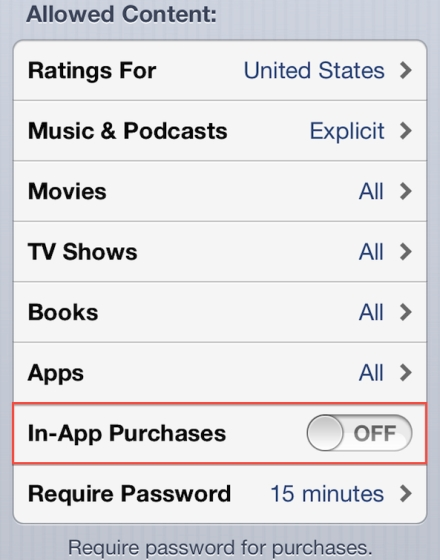 turn off in-app purchases iphone
