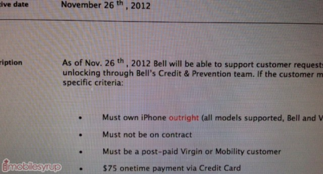 unlock off contract bell iphone